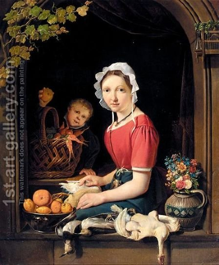 A Young Woman Seated At A Window Plucking Fowl, With A Boy Behind Holding An Apple by Dutch School - Reproduction Oil Painting