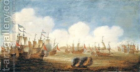 A Naval Action, Probably The Battle Of The Downs by Jan Feytsz. De Vries - Reproduction Oil Painting