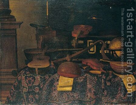 A Still Life Of Musical Instruments With Lutes, Violins, A Guitar, A Harp, Musical Scores by (after) Bartolomeo Bettera - Reproduction Oil Painting