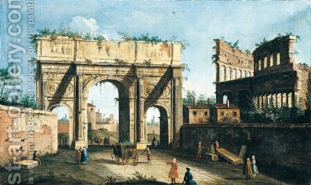 Rome, A View Of The Arch Of Constantine, With The Colosseum In The Right Background by Italian Unknown Master - Reproduction Oil Painting