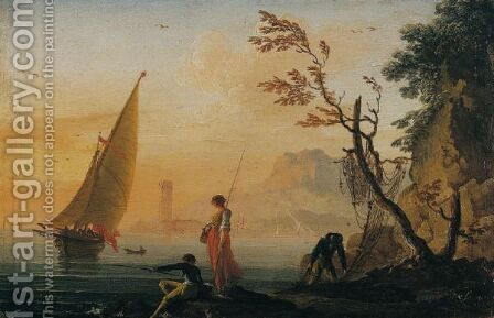 A Coastal Landscape At Sunset With Fisherfolk In The Foreground by Charles Francois Lacroix de Marseille - Reproduction Oil Painting