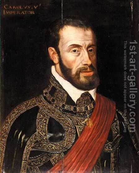 Portrait Of Emperor Charles V, Half Length, Wearing Ceremonial Armour by (after) Antonis Mor - Reproduction Oil Painting