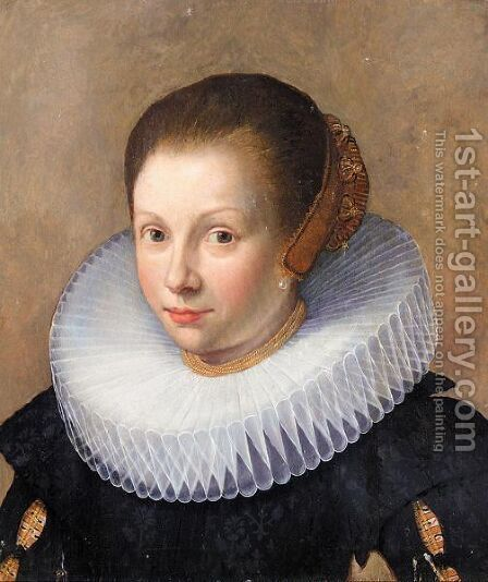 Portrait Of A Lady, Head And Shoulders, Wearing Black With A White Ruff And A Head-Dress by (after) Paulus Moreelse - Reproduction Oil Painting