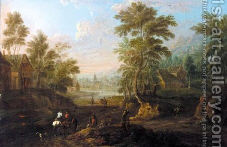 A Wooded Town Landscape With Horsemen And Other Figures In The Foreground by (after) Marc Baets - Reproduction Oil Painting