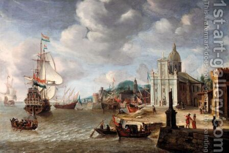 A Mediterranean Harbour Scene With A Dutch Man-O-War by (after) Jan Abrahamsz. Beerstraten - Reproduction Oil Painting