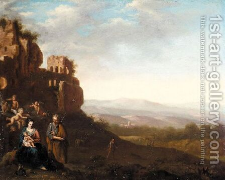 An Italianate Landscape With The Holy Family Before Ruins by (after) Cornelis Van Poelenburgh - Reproduction Oil Painting