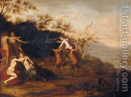 An Italianate Landscape With Nymphs And Satyrs by (after) Cornelis Van Poelenburgh - Reproduction Oil Painting