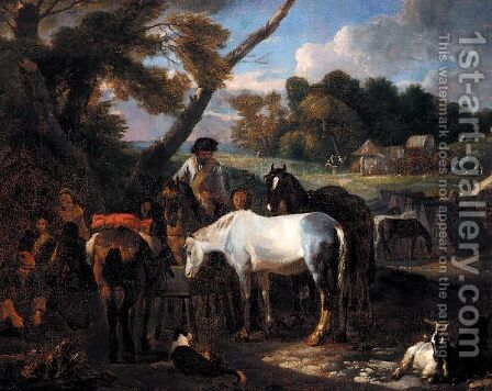 Landscape With Soldiers Making Camp Beside A Road by (after) Pieter Van Bloemen - Reproduction Oil Painting