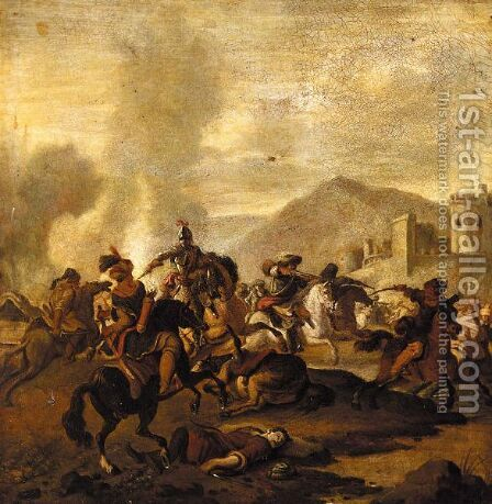 A Cavalry Engagement, Between Turks And Christians, Before A Fortified Town by (after) Jan Van Huchtenburgh - Reproduction Oil Painting