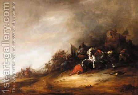 A Cavalry Engagement Before A Ruin by (after) Maerten Stoop - Reproduction Oil Painting