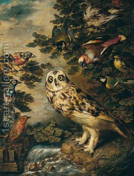 An Owl Mocked By Other Birds by (after) Ferdinand Phillip De Hamilton - Reproduction Oil Painting