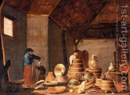 A Barn Interior With A Still Life Of Cooking Utensils Together With A Mother And Child by Jan Spanjaert - Reproduction Oil Painting