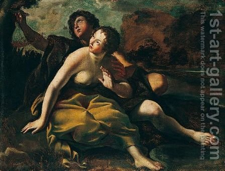 Angelica And Medoro by (after) Giovanni Lanfranco - Reproduction Oil Painting