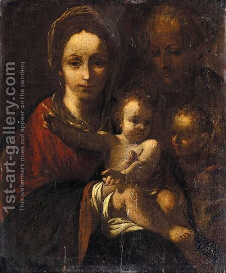 The Holy Family With Saint John The Baptist by (after) Bartolomeo Schedone - Reproduction Oil Painting