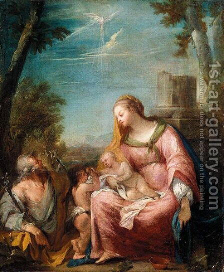 The Holy Family In A Landscape by (after) Giovanni Antonio Guardi - Reproduction Oil Painting