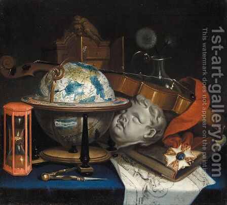 Still Life With A Globe, A Violin, Hourglass, And An Order by (after) Simon Renard De Saint-Andre - Reproduction Oil Painting