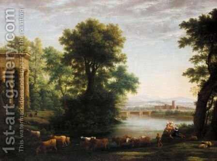 A Pastoral Landscape With Drovers And Cattle Fording A River Before A Classical Portico by (after) Claude Lorrain (Gellee) - Reproduction Oil Painting