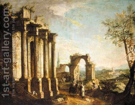 A Capriccio Scene With Figures Before Classical Ruins by (after) Michele Marieschi - Reproduction Oil Painting