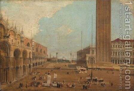 Venice, A View Of The Piazza Di San Marco, Looking South by (after) (Giovanni Antonio Canal) Canaletto - Reproduction Oil Painting