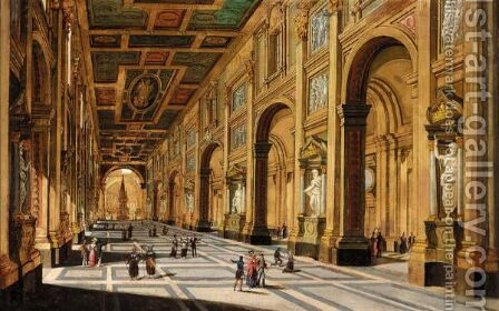 Rome, A View Of The Interior Of The Church San Giovanni In Laterano by Italian School - Reproduction Oil Painting