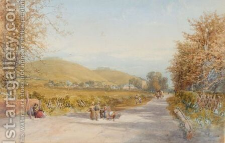 Views Of A Village With Figures In The Foreground by James Burrell Smith - Reproduction Oil Painting