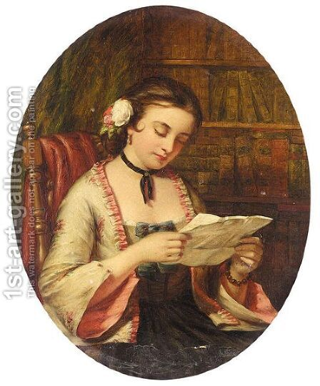 The Letter by (after) Alfred Rankley - Reproduction Oil Painting