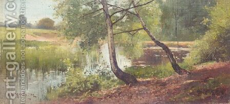 Silver Birch Trees By A Lake by Benjamin D. Sigmund - Reproduction Oil Painting