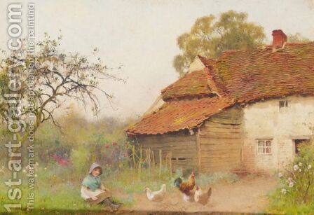 Cottage In Worcestershire Lane by Benjamin D. Sigmund - Reproduction Oil Painting
