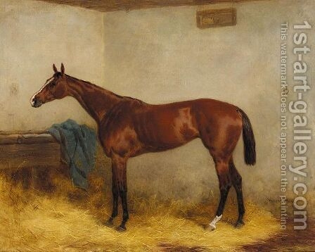 Chopette, A Bay Racehorse In A Stable by Harry Hall - Reproduction Oil Painting