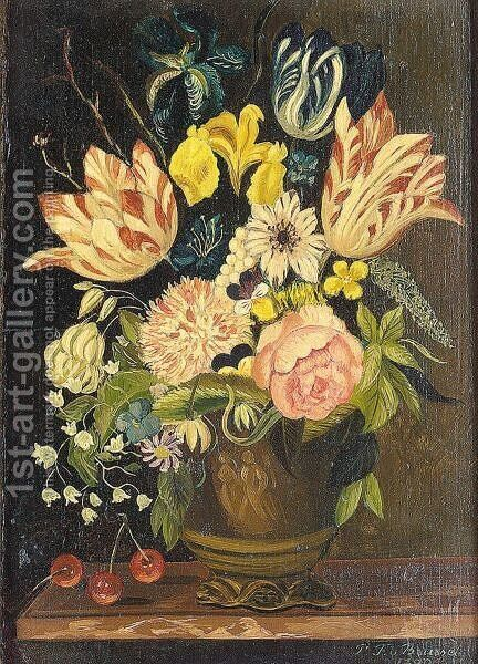 Still Life Of Flowers In A Stone Urn by (after) Paul Theodor Van Brussel - Reproduction Oil Painting