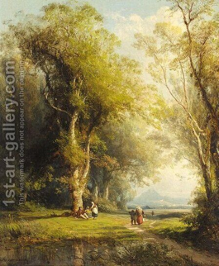 Figures On A Woodland Path by Charles Euphraisie Kuwasseg - Reproduction Oil Painting