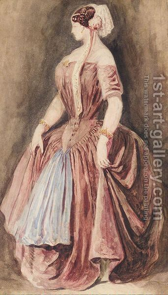 Study Of A Woman In A Red Dress by (after) Constantin Guys - Reproduction Oil Painting
