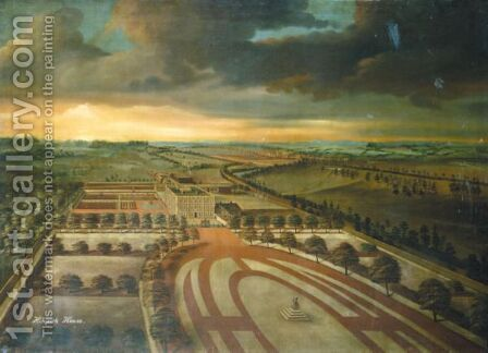 Prospect Of Hinwick House, Bedfordshire by (after) Willem Van Der Hagen - Reproduction Oil Painting