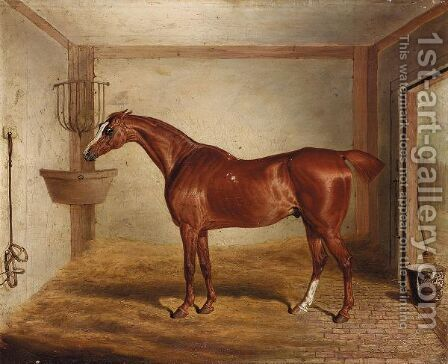 'Whittington', A Favourite Bay Hunter In A Stable by David of York Dalby - Reproduction Oil Painting