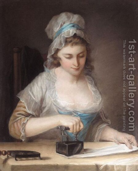 A Servant Girl Ironing by (after) Henry Robert Morland - Reproduction Oil Painting