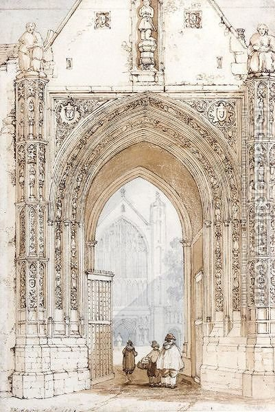 Erpingham Gate in the Cathedral Close by David Hodgson - Reproduction Oil Painting