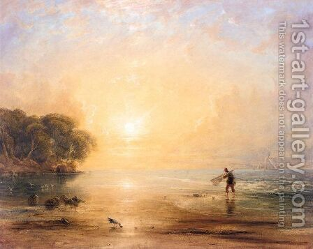 A Fisherboy On The Shore At Sunset by Anthony Vandyke Copley Fielding - Reproduction Oil Painting