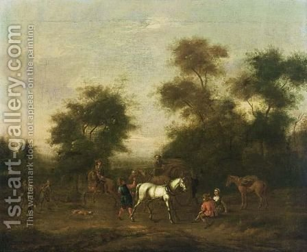 A Hunting Party Resting Near Trees by Barent Gael - Reproduction Oil Painting