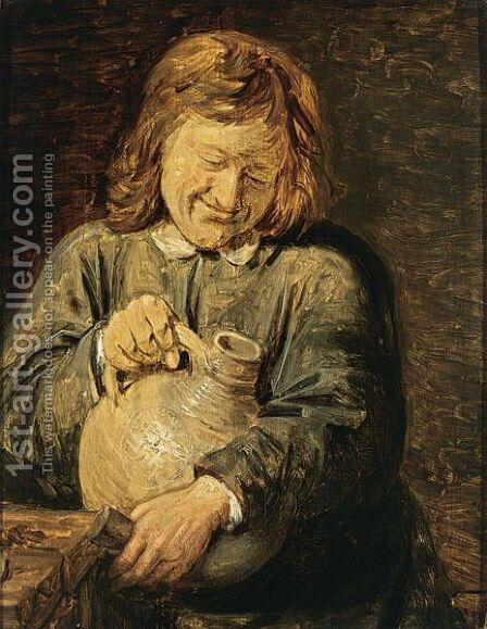 A Man Holding A Jug by (after) Joos Van Craesbeeck - Reproduction Oil Painting