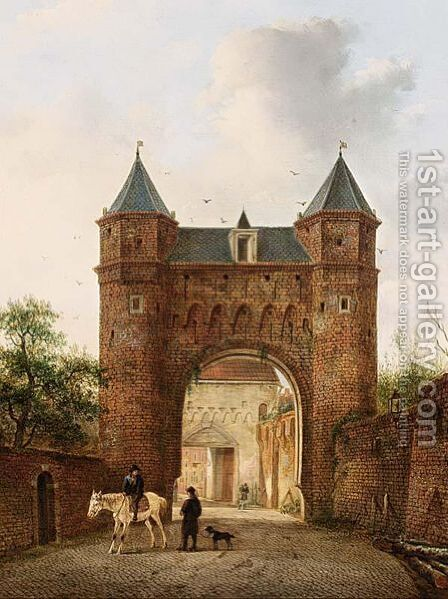 Villagers Near A Town Gate by Hendrik Van Oort - Reproduction Oil Painting