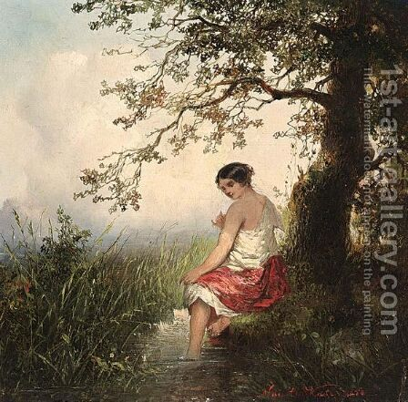 At The Spring by Jan Mari Henri Ten Kate - Reproduction Oil Painting