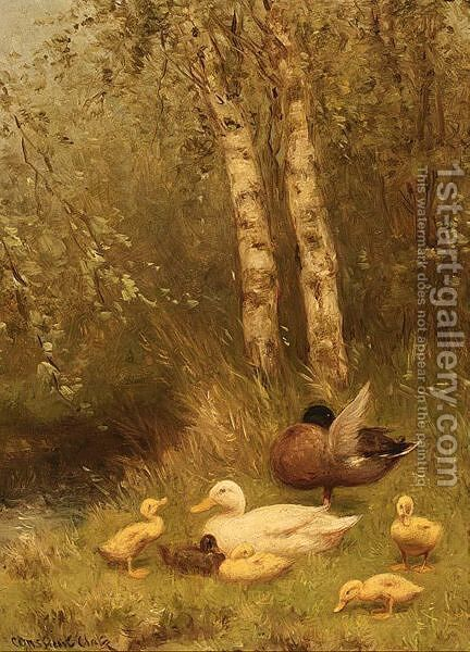 Duck With Ducklings On The Riverside by David Adolf Constant Artz - Reproduction Oil Painting