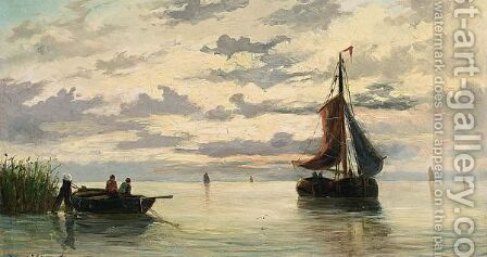 Boats In An Estuary by Jacob Willem Gruyter - Reproduction Oil Painting
