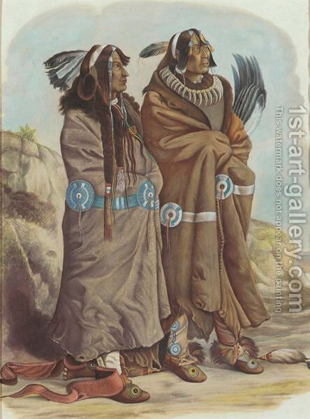 Yellow Feather And Flying War Eagle by (after) Karl Bodmer - Reproduction Oil Painting