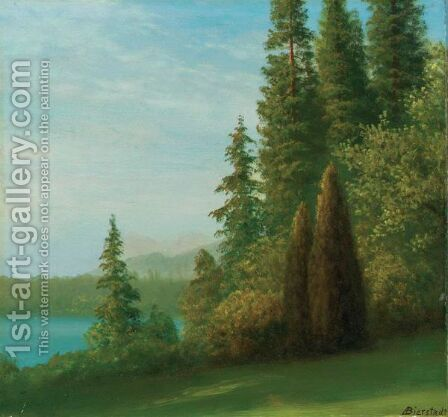 Landscape With Trees And Lake by Albert Bierstadt - Reproduction Oil Painting