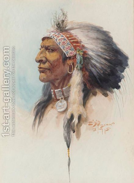 Blackfoot Chief In Headdress by Edgar Samuel Paxson - Reproduction Oil Painting