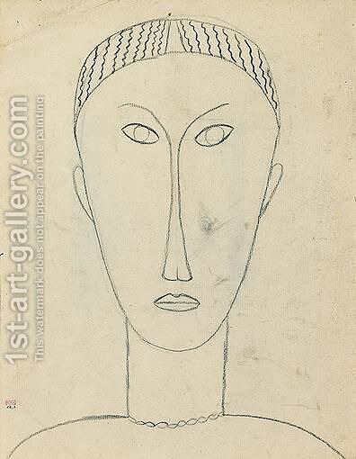 Tete De Face by Amedeo Modigliani - Reproduction Oil Painting