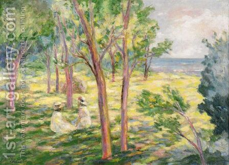 Deux Fillettes Dans Un Paysage by Henri Lebasque - Reproduction Oil Painting