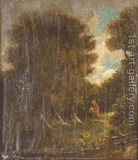 Two figures at dusk in wooded landscape by (after) John Crome - Reproduction Oil Painting
