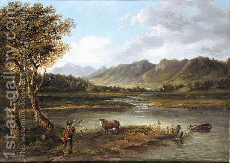 Boy deside a loch by (after) Patrick Nasmyth - Reproduction Oil Painting
